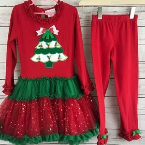 Christmas Tree outfit 2pc little girls size 6